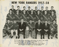 Rare Original N.Y. Rangers 1957-58 8x10 Photo Team-Signed by (17) with Andy Bathgate, Harry Howell, Bill Gadsby (JSA LOA)