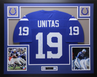 Johnny Unitas Signed Colts  35x43 Custom Framed Jersey (PSA COA)