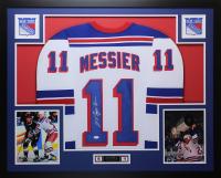 Mark Messier Signed Rangers 35x43 Custom Framed Jersey (JSA COA)