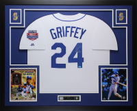 "Ken Griffey Jr. Signed Seattle Mariners 35x43 Custom Framed Jersey Display Inscribed ""HOF 16"" (TriStar)"