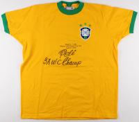 "Pele Signed Brazil 1970 World Cup Final Jersey Inscribed ""3x W.C. Champ"" (PSA Hologram)"