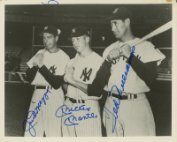 Joe DiMaggio, Ted Williams, & Mickey Mantle Signed 8x10 Photo (JSA ALOA)