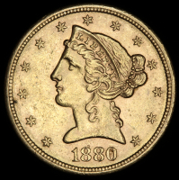 1880-S $5 Five Dollars Liberty Head Half Eagle Gold Coin at PristineAuction.com