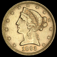 1893 $5 Five Dollars Liberty Head Half Eagle Gold Coin