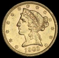 1903-S $5 Five Dollars Liberty Head Half Eagle Gold Coin