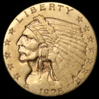1925-D $2.50 Indian Quarter Eagle Gold Coin at PristineAuction.com