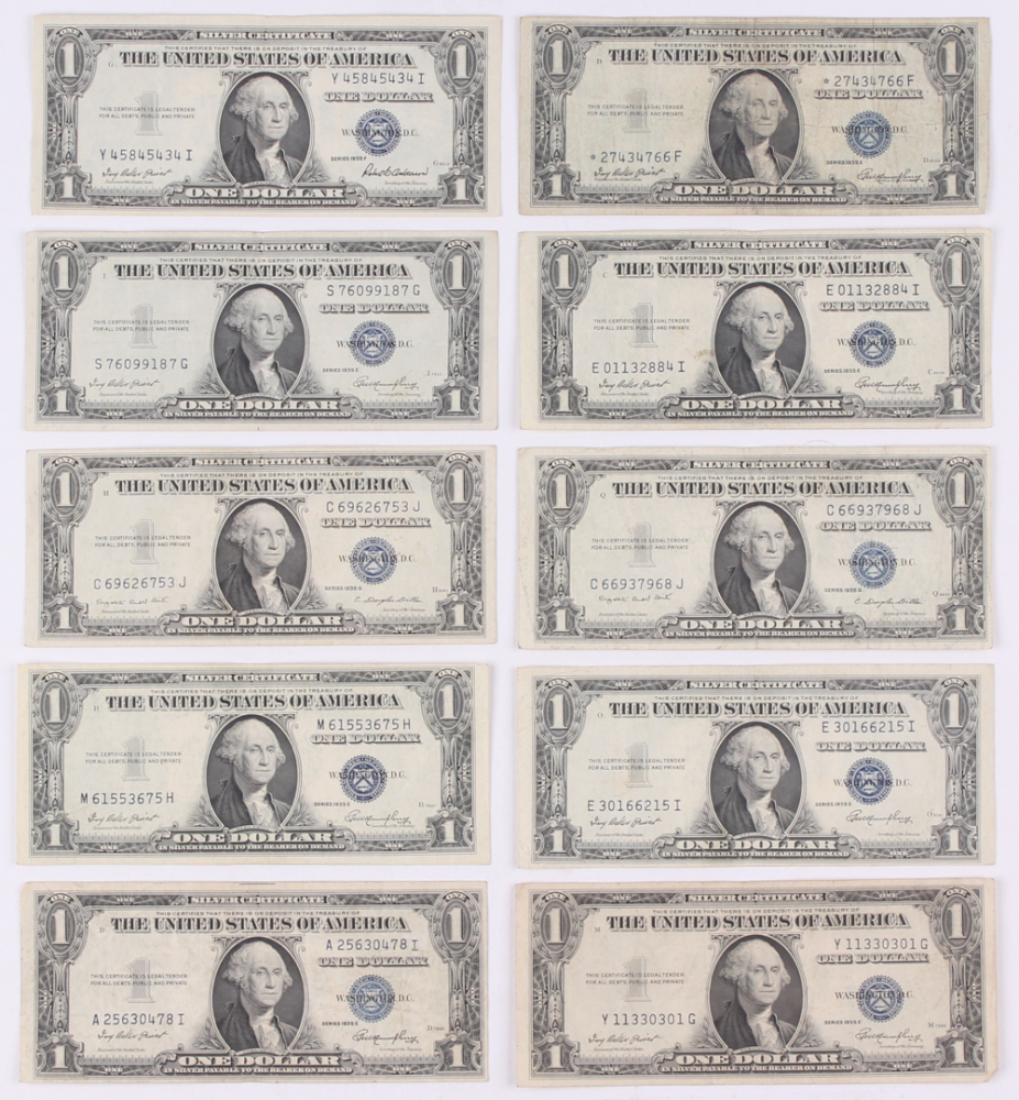 Online sports memorabilia auction pristine auction lot of 10 1935 1 one dollar us silver certificates at pristineauction 1betcityfo Images