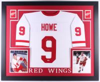 "Gordie Howe Signed Red Wings 35x43 Custom Framed Jersey Inscribed ""Mr. Hockey"" (PSA COA)"