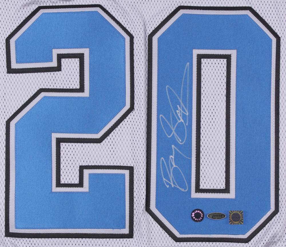 331b385064c Barry Sanders Signed LE Lions Career Highlight Stat Jersey (Schwartz COA & TriStar  COA)