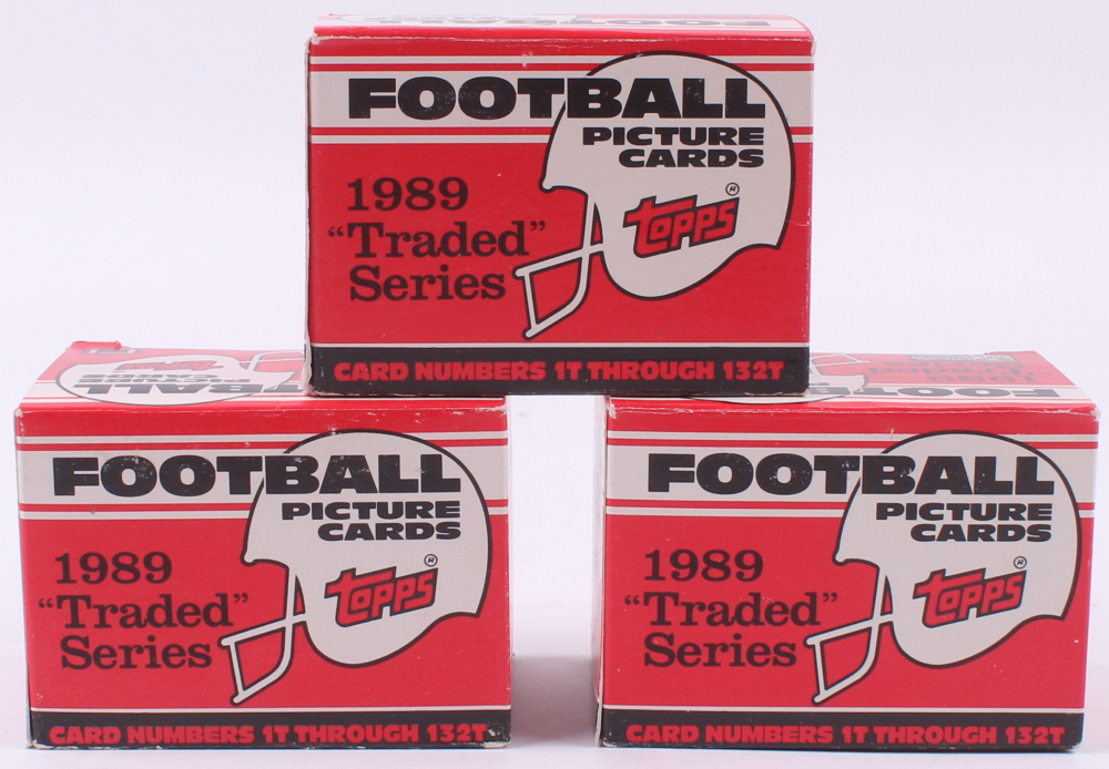 Lot of (3) 1989 Topps Traded Complete Set of (132) Football Cards at PristineAuction.com