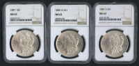 Lot of (3) MS 63 Morgan Silver Dollar with 1881-S, 1885-O & 1887 (NGC MS 63)