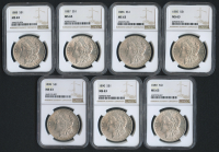 Lot of (7) MS 63 Morgan Silver Dollar with 1885, 1886, 1887, 1888, 1889, 1890 & 1898 (NGC MS 63)