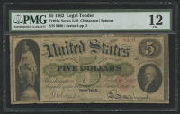1862 $5 Five Dollars Legal Tender Large Bank Note (PMG 12) at PristineAuction.com