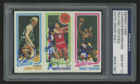 Julius Erving, Magic Johnson & Larry Bird Triple Signed 1980-81 Topps #6 34 RC / 174 TL / 139 RC (PSA Encapsulated & Autographs Graded 10)