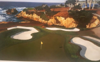 """Danny Day Signed 1994 Pebble Beach """"The 15th at Cypress Point"""" Golf Course 25x32.5 Limited Edition Lithograph on Archival Paper (Day COA)"""