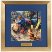 "Thomas Kinkade Walt Disney ""Beauty and The Beast"" 16x16 Custom Framed Print"