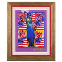 """Peter Max Signed """"Statue of Liberty"""" 18x24 Custom Framed Original Mixed Media on Paper (Peter Max Studios COA)"""