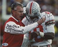 "Jim Tressel & Troy Smith Signed Ohio State Buckeyes 8x10 Photo Inscribed ""Yea Ohio!"" (Beckett COA)"