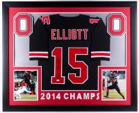 "Ezekiel Elliott Signed Ohio State Buckeyes ""2014 Champs"" 35.5x43.5 Custom Framed Jersey (JSA COA)"