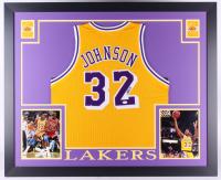 Magic Johnson Signed Lakers 35.5x43.5 Custom Framed Jersey (JSA COA)