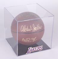 Kareem Abdul-Jabbar & Magic Johnson Signed Spalding NBA Basketball with Lakers Display Case (JSA COA)