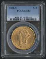 1892-S $20 Liberty Head Double Eagle Gold Coin (PCGS MS 62)