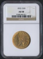 1913 $10 Liberty Head Eagle Gold Coin (NGC AU 58)