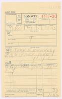 Jacqueline Kennedy Signed Bonwit Teller Receipt (PSA LOA)