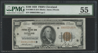 1929 $100 One Hundred Dollars U.S. National Currency Bank Note - The Federal Reserve Bank of Cleveland, Ohio (PMG 55)