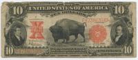 "1901 'Bison' $10 Ten Dollars Legal Tender ""Mule Note"" Large Size Bank Note"