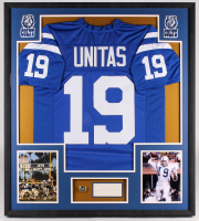 Johnny Unitas Signed Colts 33.5x37.5x2 Custom Framed Jersey & Cut Shadowbox Display with Super Bowl Ring (PSA)