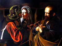 "Hector Monroy Signed ""The Denial of St.Peter"" 25.5x33.5 Original Oil Painting on Canvas (PA LOA)"