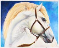 "Manuel Rosas Signed ""Free Spirit"" 35.5x42.5 Original Oil Painting on Canvas (PA LOA)"