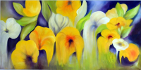 """Nicole Denarie Signed """"Yellow Garden"""" 35.5x67.5 Original Oil Painting on Canvas (PA LOA)"""