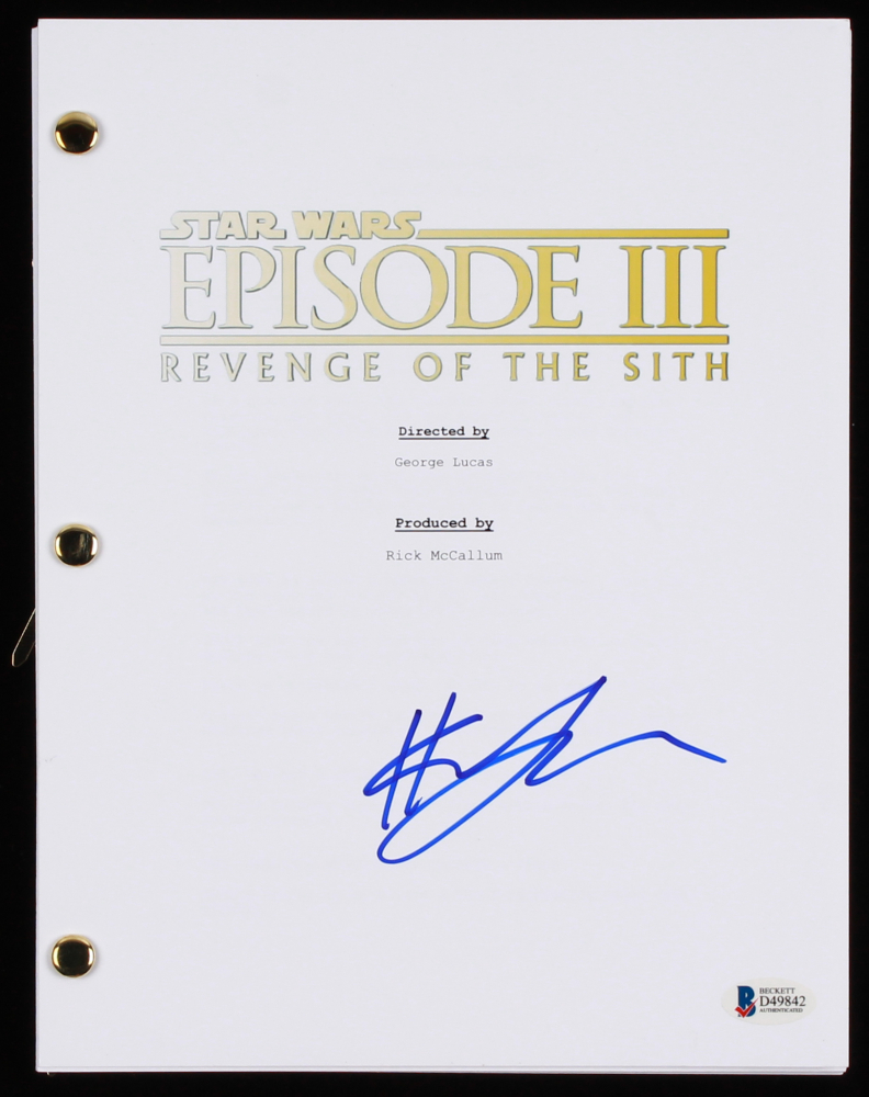 Hayden Christensen Signed Star Wars Episode Iii Revenge Of The Sith Full Movie Script Beckett Coa Pristine Auction