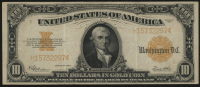 1922 $10 Ten Dollars U.S. Gold Certificate Currency Large Size Bank Note