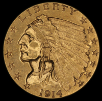 1914 $2.50 Indian Quarter Eagle Gold Coin at PristineAuction.com