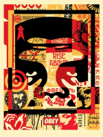 """Shepard Fairey """"Obey"""" Andre the Giant Signed 18x24 Lithograph on Cream Speckle Tone Paper"""