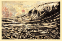 """Shepard Fairey """"Dark Wave"""" Signed 24x36 Lithograph on Cream Speckle Tone Paper at PristineAuction.com"""