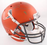 Ray Lewis Signed Miami Hurricanes Full-Size Custom Matte Orange Helmet (Radtke COA & Lewis Hologram)