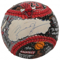 Michael Jordan Signed Chicago Bulls Baseball Hand-Painted by Charles Fazzino (UDA COA)