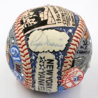 Roger Maris Signed New York Yankees Baseball Hand-Painted by Charles Fazzino (JSA LOA)