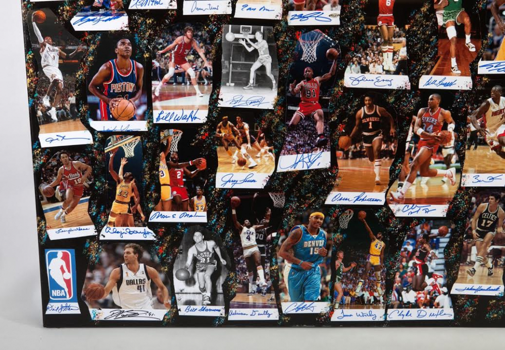 1a9fcee2320 NBA Legends 40x60 Original Fine Art Collage on Canvas Signed by (61) with  Michael