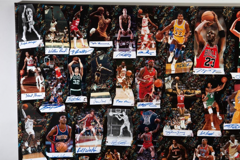 8f0d8bf4044 NBA Legends 40x60 Original Fine Art Collage on Canvas Signed by (61) with  Michael