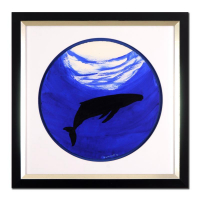 "Wyland Signed ""Whale"" 29x29 Custom Framed Original Watercolor Painting at PristineAuction.com"