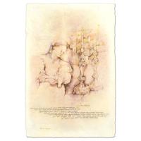 "Brachi Horen Signed ""Candle Prayer"" 15x23 Hand-Embellished Mixed Media with Goldleaf at PristineAuction.com"