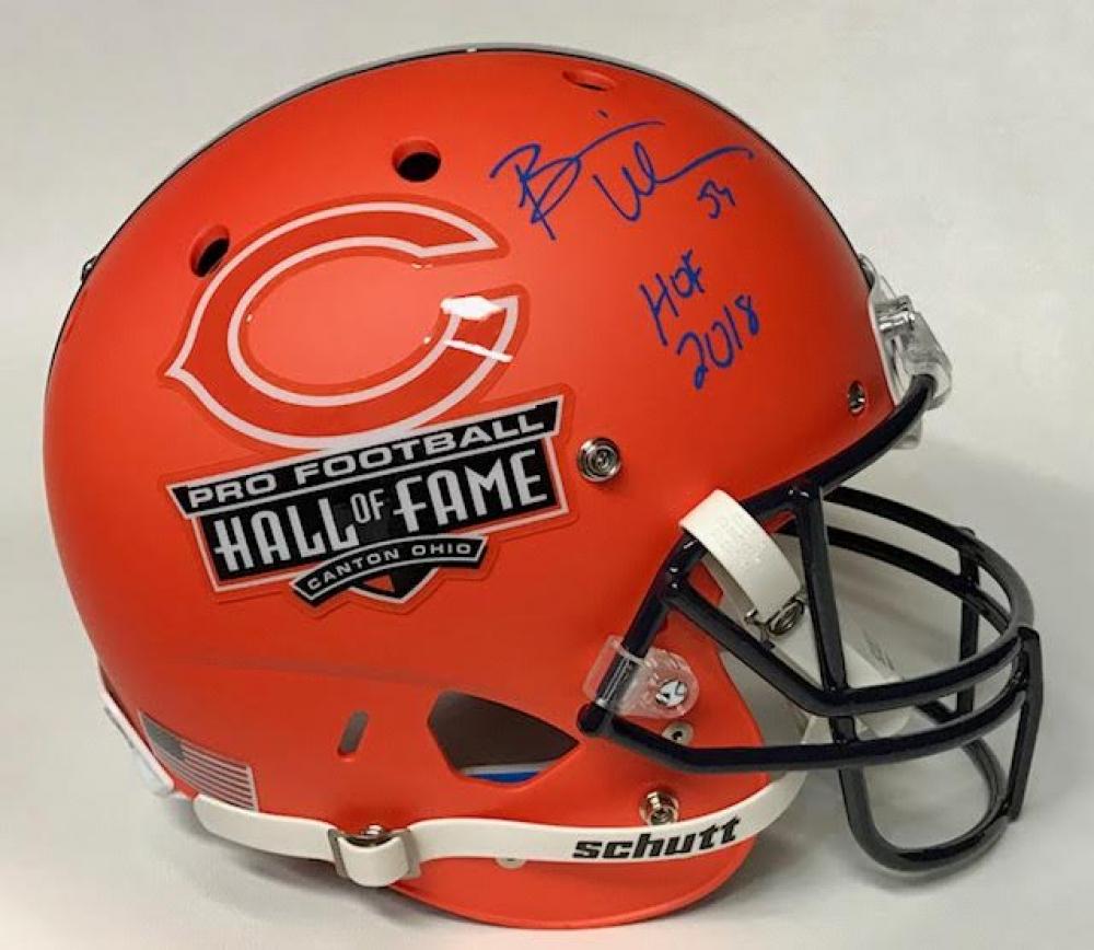 de6f0e7af Brian Urlacher Signed Bears Hall of Fame Logo Matte Orange Full-Size Helmet  Inscribed