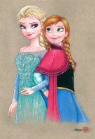 "Thang Nguyen - ""Elsa & Anna"" Frozen 8x12 Signed Limited Edition Giclee on Fine Art Paper #/50"