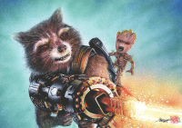 "Thang Nguyen - Rocket Raccoon & Groot ""Guardians of the Galaxy"" 8x12 Signed Limited Edition Giclee on Fine Art Paper #/25"