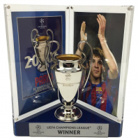 Lionel Messi Signed 8x10 Photo with Replica 2006 UEFA Champions League Trophy Display (Icons COA)